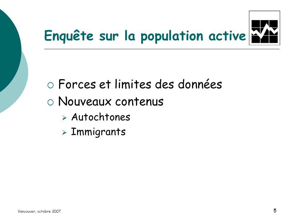 Vancouver, octobre 2007 5 Enquête sur la population active Forces et limites des données Nouveaux contenus Autochtones Immigrants