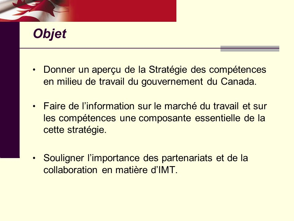 Objet Donner un aperçu de la Stratégie des compétences en milieu de travail du gouvernement du Canada.