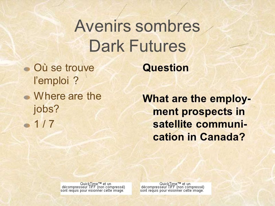 Avenirs sombres Dark Futures Mest-il possible de changer de carriè- re .