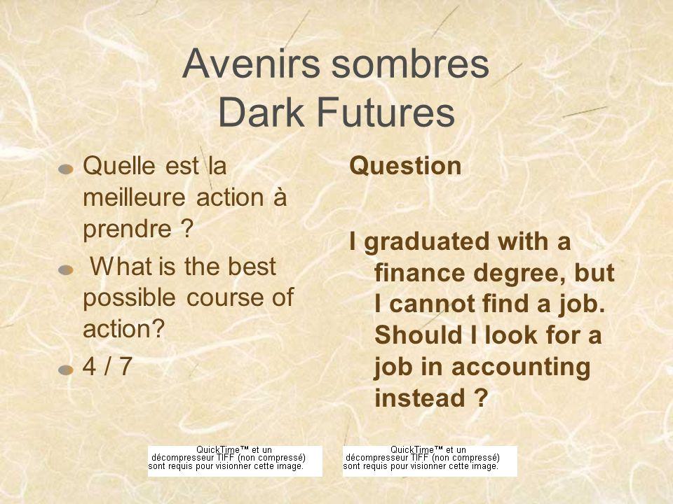 Avenirs sombres Dark Futures Quelle est la meilleure action à prendre .