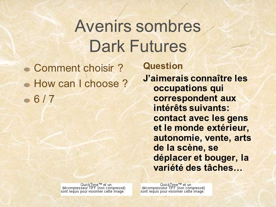 Avenirs sombres Dark Futures Je fais face à une contradiction .
