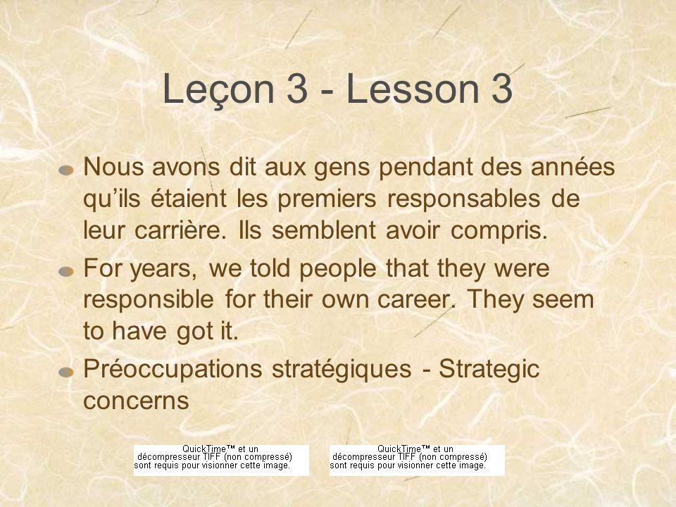 Leçon 3 - Lesson 3 Nous avons dit aux gens pendant des années quils étaient les premiers responsables de leur carrière.