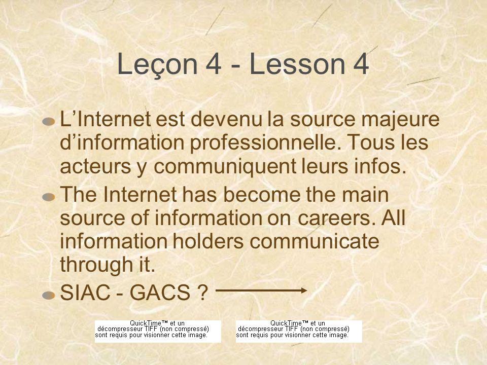 Leçon 4 - Lesson 4 LInternet est devenu la source majeure dinformation professionnelle.