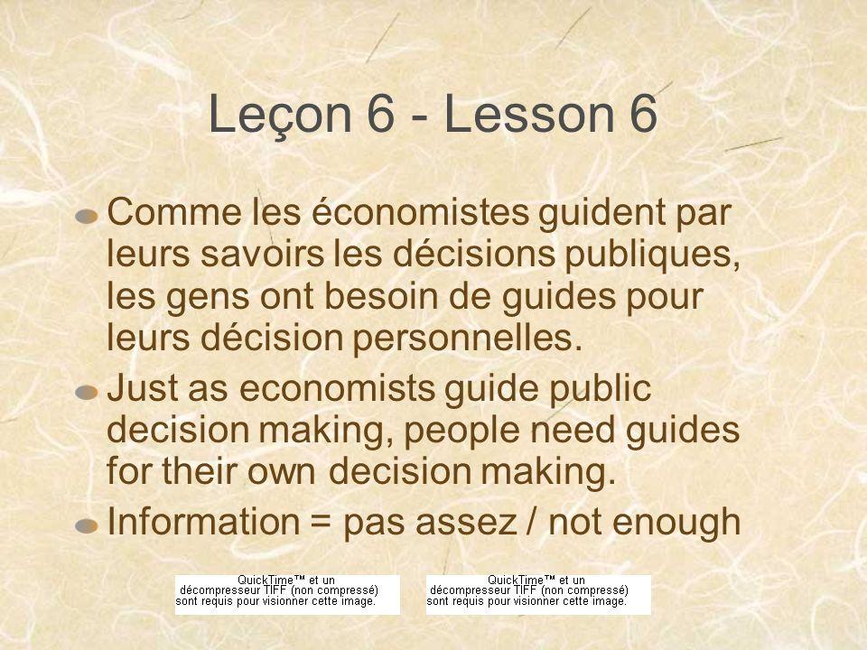 Leçon 6 - Lesson 6 Comme les économistes guident par leurs savoirs les décisions publiques, les gens ont besoin de guides pour leurs décision personnelles.