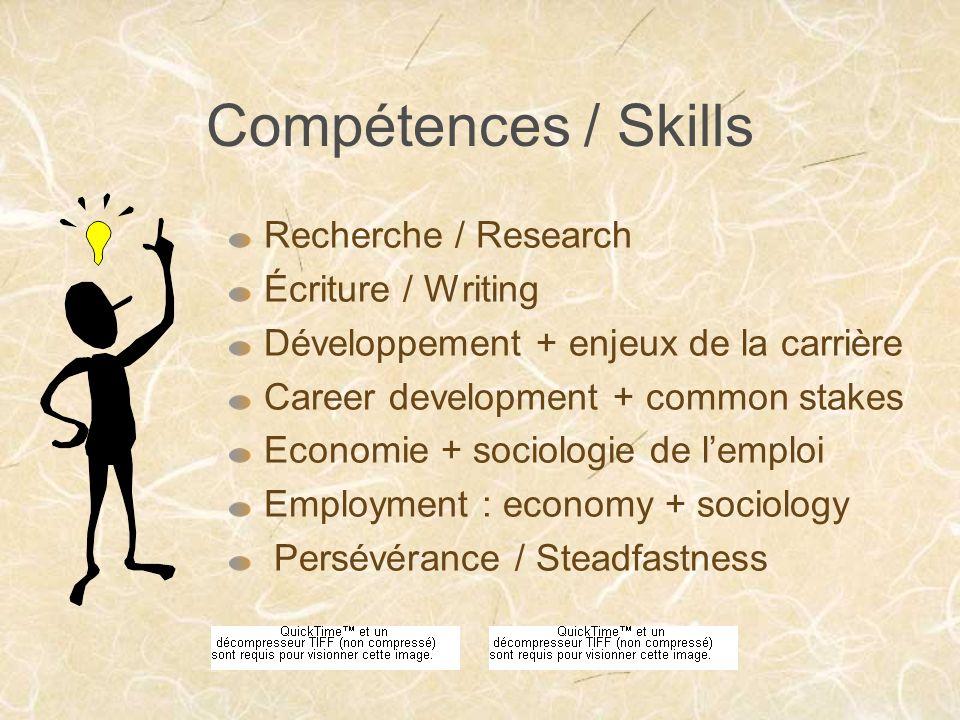 Compétences / Skills Recherche / Research Écriture / Writing Développement + enjeux de la carrière Career development + common stakes Economie + sociologie de lemploi Employment : economy + sociology Persévérance / Steadfastness