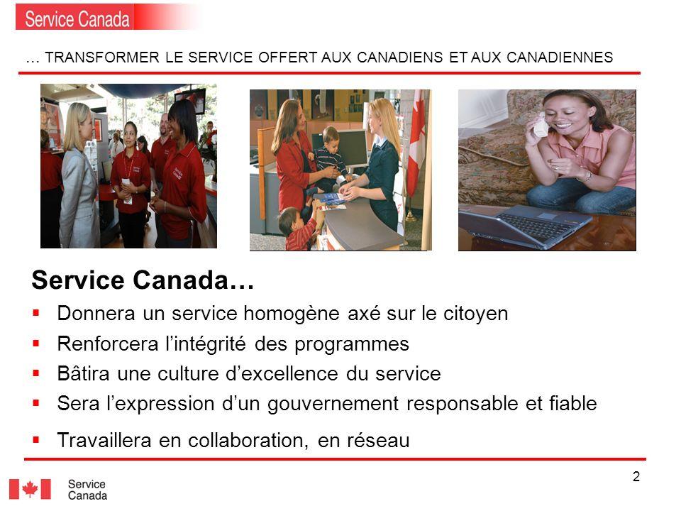 2... TRANSFORMER LE SERVICE OFFERT AUX CANADIENS ET AUX CANADIENNES Service Canada… Donnera un service homogène axé sur le citoyen Renforcera lintégri