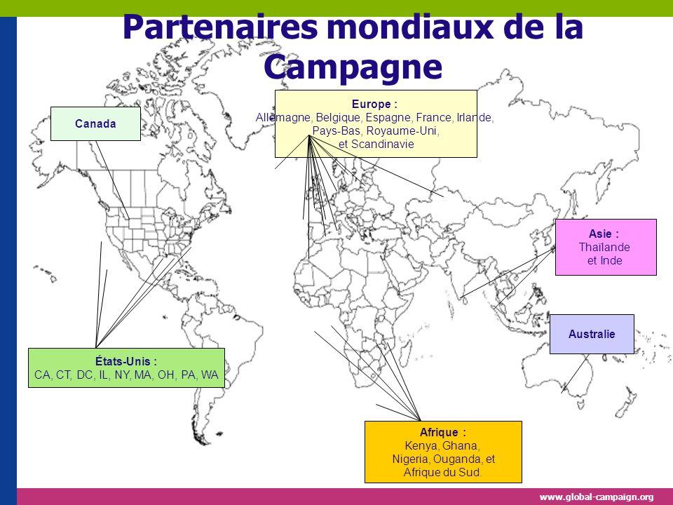 www.global-campaign.org États-Unis : CA, CT, DC, IL, NY, MA, OH, PA, WA Afrique : Kenya, Ghana, Nigeria, Ouganda, et Afrique du Sud.