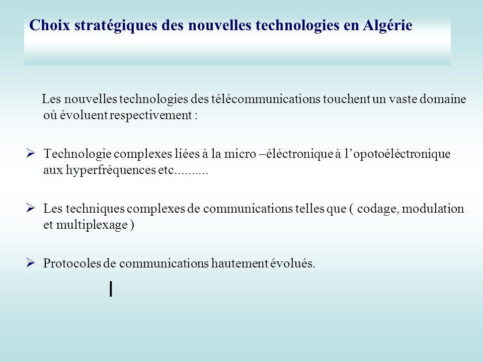 Les nouvelles technologies des télécommunications touchent un vaste domaine où évoluent respectivement : Technologie complexes liées à la micro –éléct