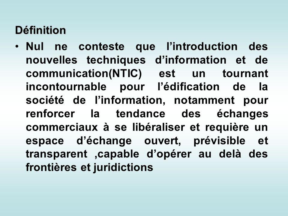 Définition Nul ne conteste que lintroduction des nouvelles techniques dinformation et de communication(NTIC) est un tournant incontournable pour lédif