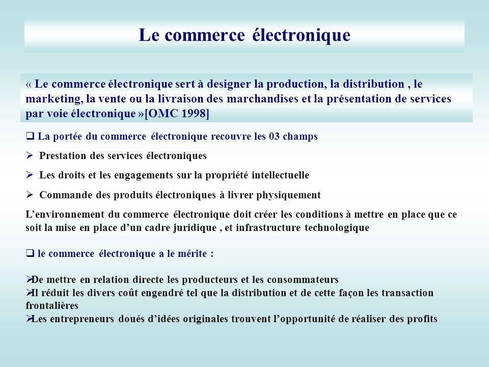 Le commerce électronique La portée du commerce électronique recouvre les 03 champs Prestation des services électroniques Les droits et les engagements