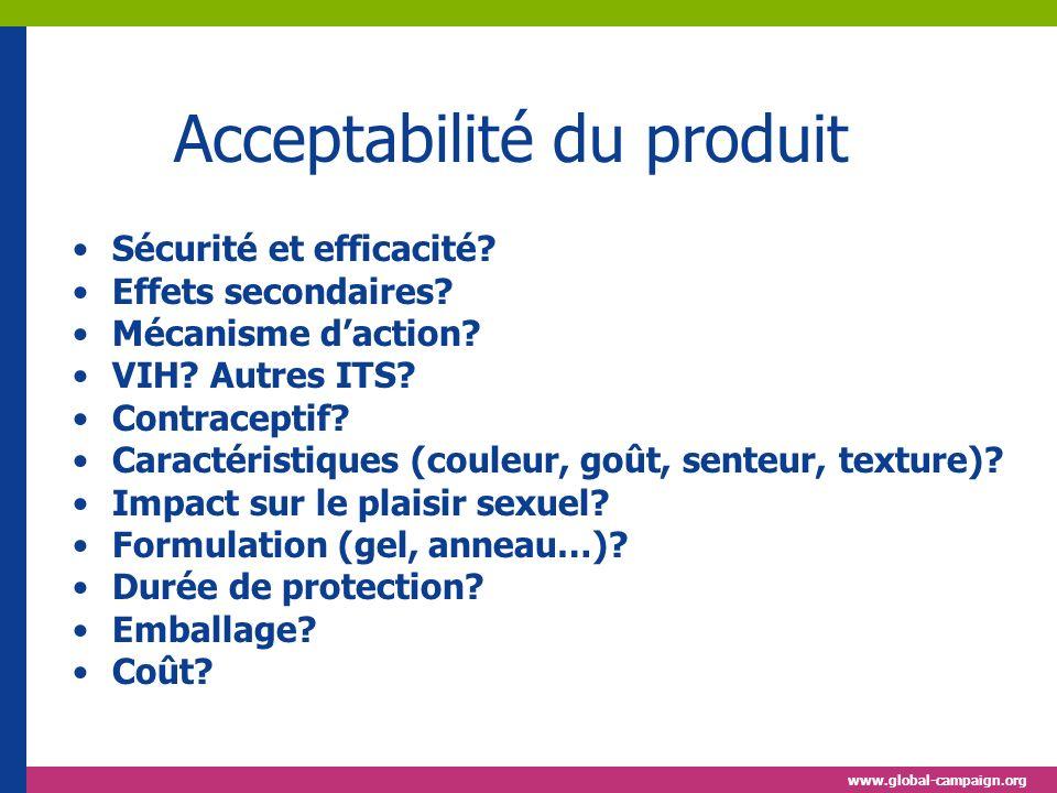 www.global-campaign.org Acceptabilité du produit Sécurité et efficacité.