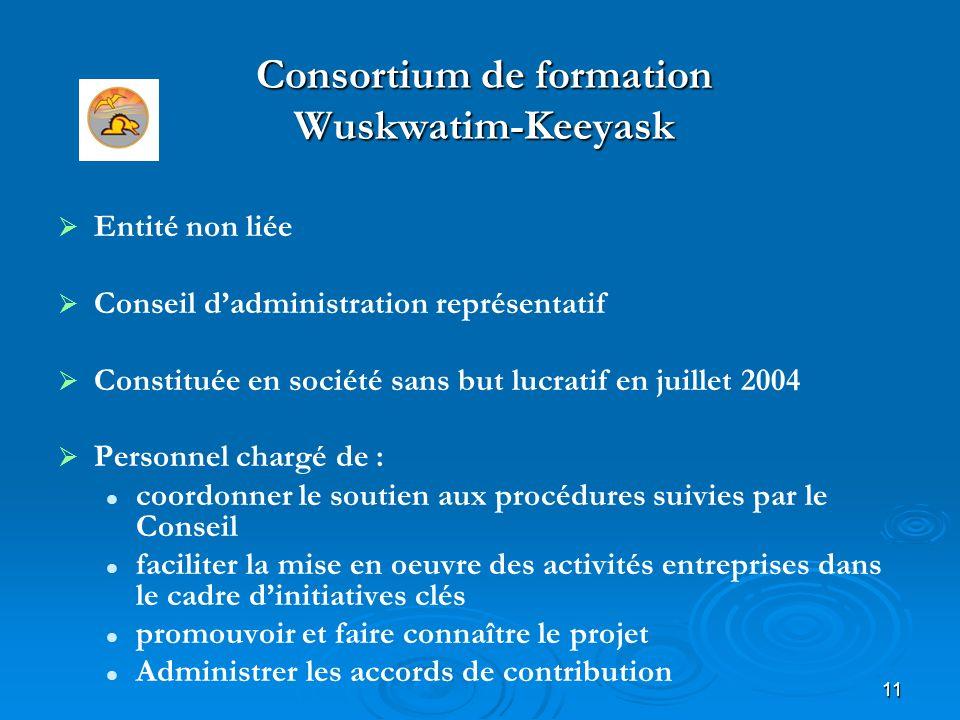 11 Consortium de formation Wuskwatim-Keeyask Entité non liée Conseil dadministration représentatif Constituée en société sans but lucratif en juillet 2004 Personnel chargé de : coordonner le soutien aux procédures suivies par le Conseil faciliter la mise en oeuvre des activités entreprises dans le cadre dinitiatives clés promouvoir et faire connaître le projet Administrer les accords de contribution www.wktc.ca