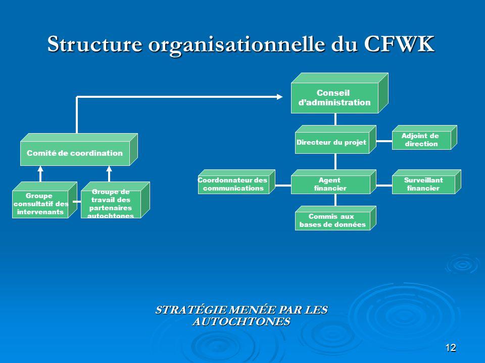 12 Structure organisationnelle du CFWK Conseil dadministration Comité de coordination Groupe consultatif des intervenants Groupe de travail des parten