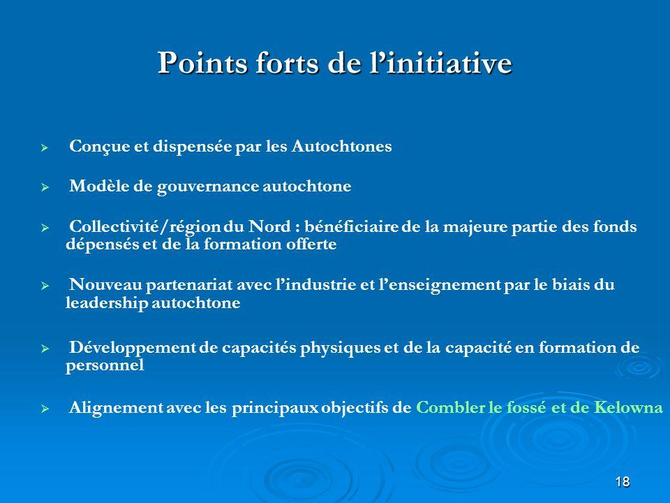 18 Points forts de linitiative Conçue et dispensée par les Autochtones Modèle de gouvernance autochtone Collectivité/région du Nord : bénéficiaire de