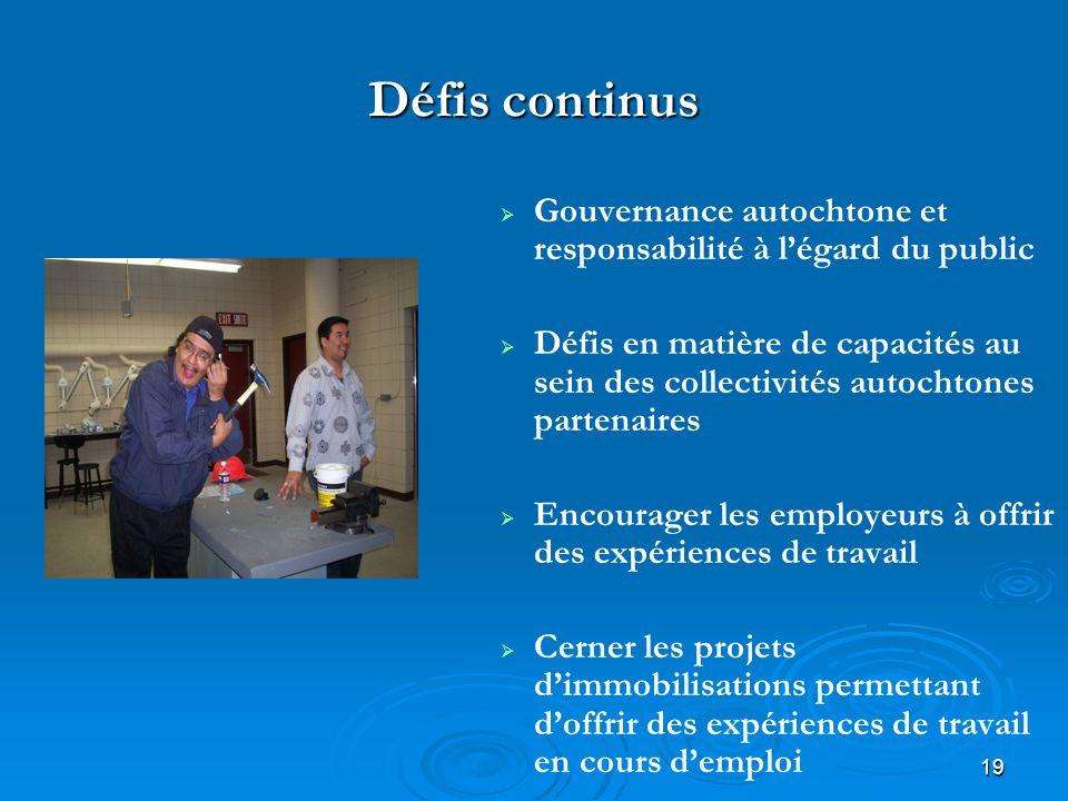 19 Défis continus Gouvernance autochtone et responsabilité à légard du public Défis en matière de capacités au sein des collectivités autochtones part