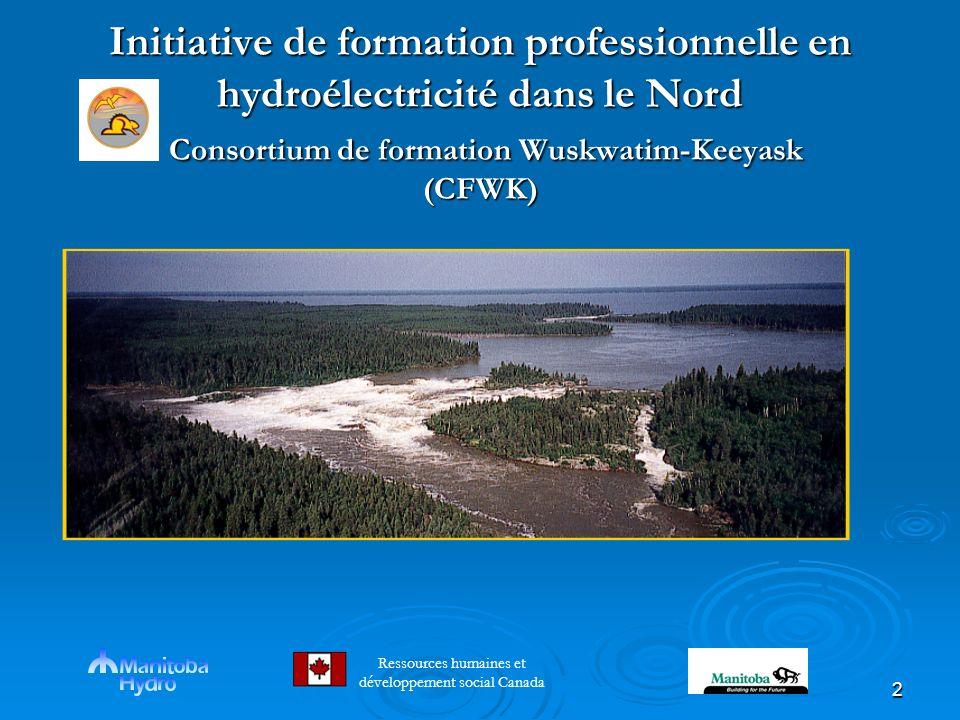 2 Initiative de formation professionnelle en hydroélectricité dans le Nord Consortium de formation Wuskwatim-Keeyask (CFWK) Initiative de formation professionnelle en hydroélectricité dans le Nord Consortium de formation Wuskwatim-Keeyask (CFWK) Ressources humaines et développement social Canada