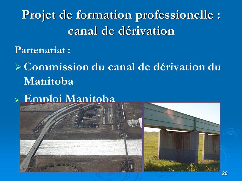 20 Projet de formation professionelle : canal de dérivation Partenariat : Commission du canal de dérivation du Manitoba Emploi Manitoba