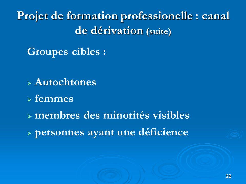 22 Projet de formation professionelle : canal de dérivation (suite) Groupes cibles : Autochtones femmes membres des minorités visibles personnes ayant