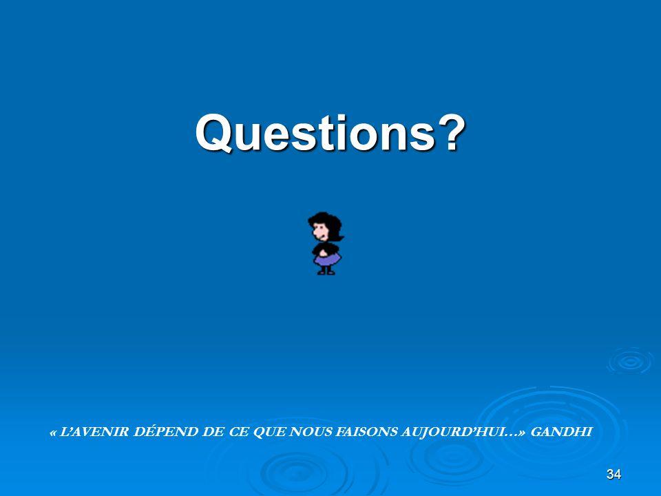 34 Questions? « LAVENIR DÉPEND DE CE QUE NOUS FAISONS AUJOURDHUI…» GANDHI