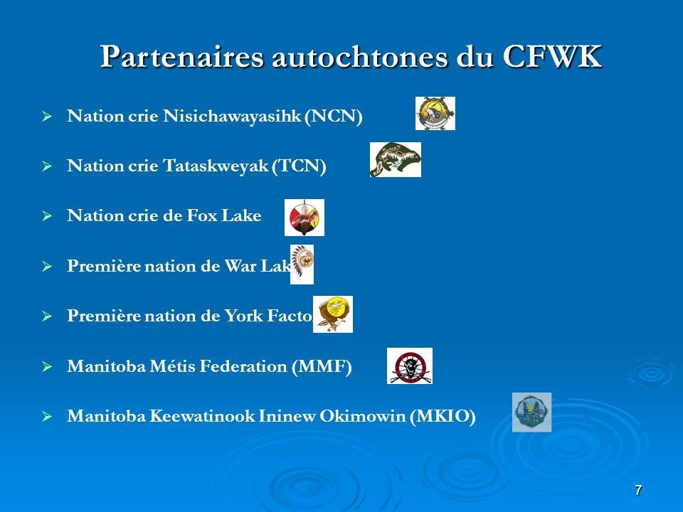 7 Partenaires autochtones du CFWK Nation crie Nisichawayasihk (NCN) Nation crie Tataskweyak (TCN) Nation crie de Fox Lake Première nation de War Lake