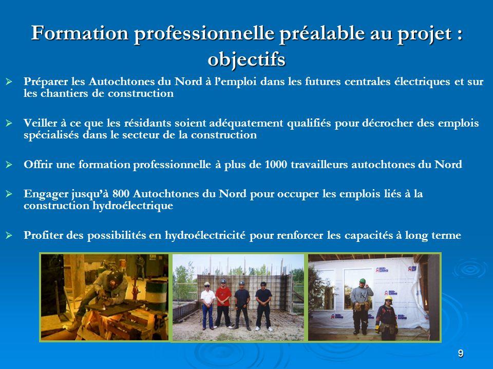 9 Formation professionnelle préalable au projet : objectifs Préparer les Autochtones du Nord à lemploi dans les futures centrales électriques et sur l