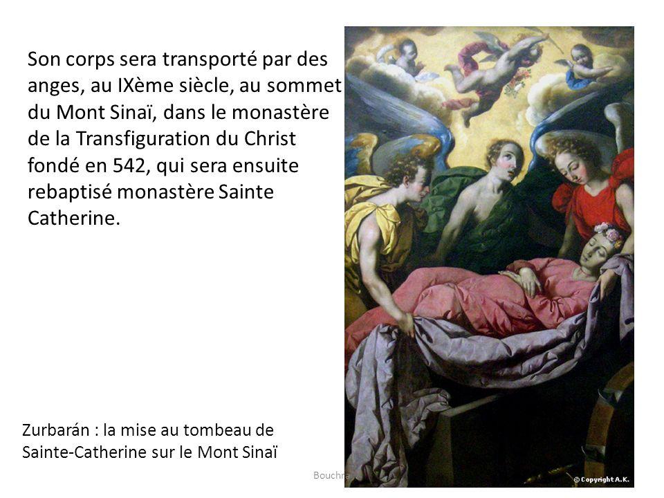 Son corps sera transporté par des anges, au IXème siècle, au sommet du Mont Sinaï, dans le monastère de la Transfiguration du Christ fondé en 542, qui