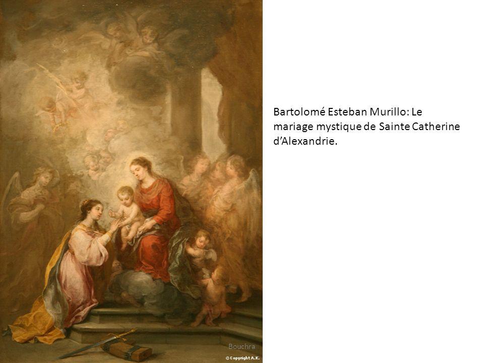 Sainte Catherine est représentée ici avec ses attributs traditionnels, la roue armée de clous, la palme du martyre ainsi qu une couronne soulignant ses origines.