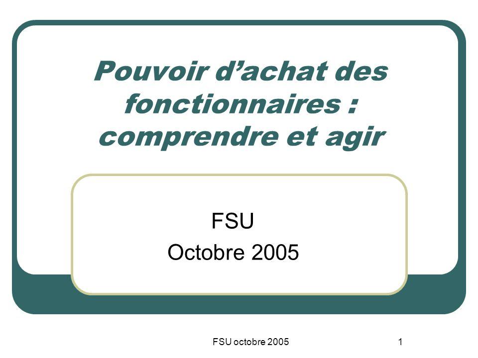 FSU octobre 20051 Pouvoir dachat des fonctionnaires : comprendre et agir FSU Octobre 2005