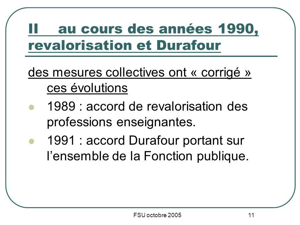 FSU octobre 2005 11 IIau cours des années 1990, revalorisation et Durafour des mesures collectives ont « corrigé » ces évolutions 1989 : accord de revalorisation des professions enseignantes.