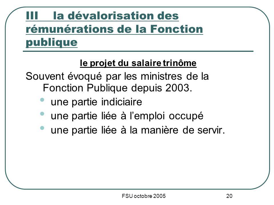 FSU octobre 2005 20 IIIla dévalorisation des rémunérations de la Fonction publique le projet du salaire trinôme Souvent évoqué par les ministres de la Fonction Publique depuis 2003.