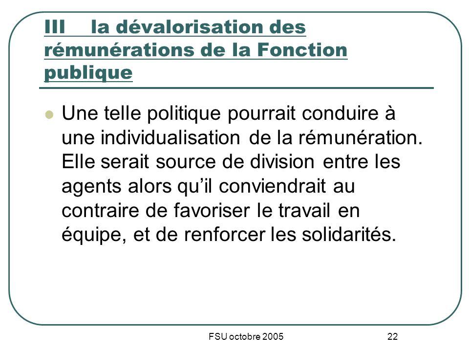 FSU octobre 2005 22 IIIla dévalorisation des rémunérations de la Fonction publique Une telle politique pourrait conduire à une individualisation de la rémunération.