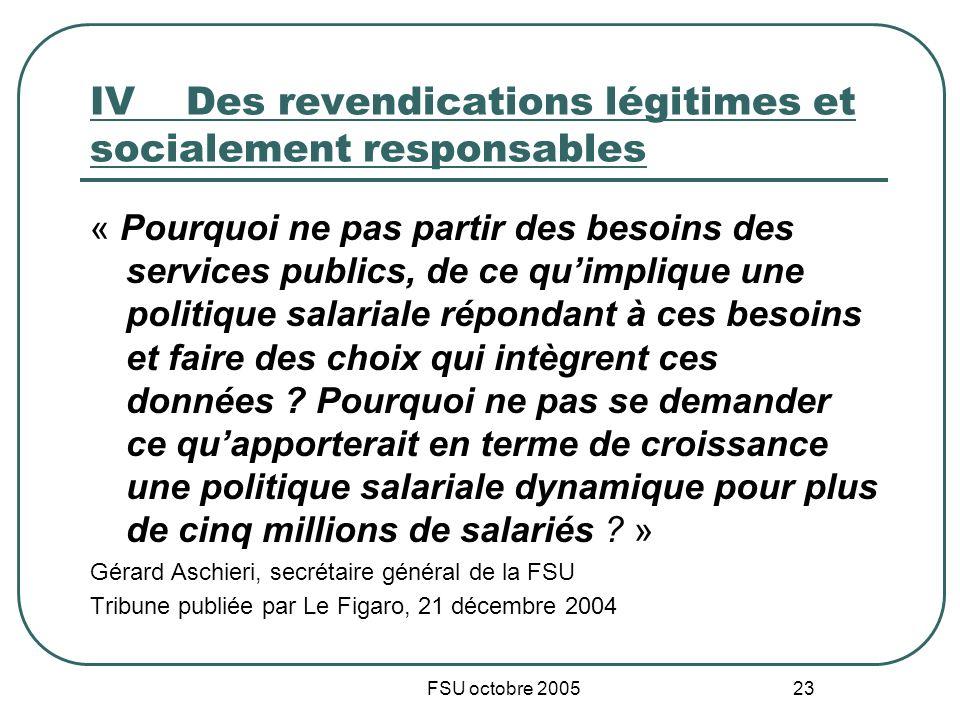 FSU octobre 2005 23 IVDes revendications légitimes et socialement responsables « Pourquoi ne pas partir des besoins des services publics, de ce quimpl