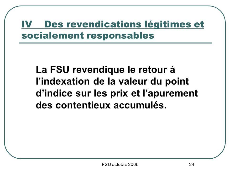 FSU octobre 2005 24 IVDes revendications légitimes et socialement responsables La FSU revendique le retour à lindexation de la valeur du point dindice sur les prix et lapurement des contentieux accumulés.