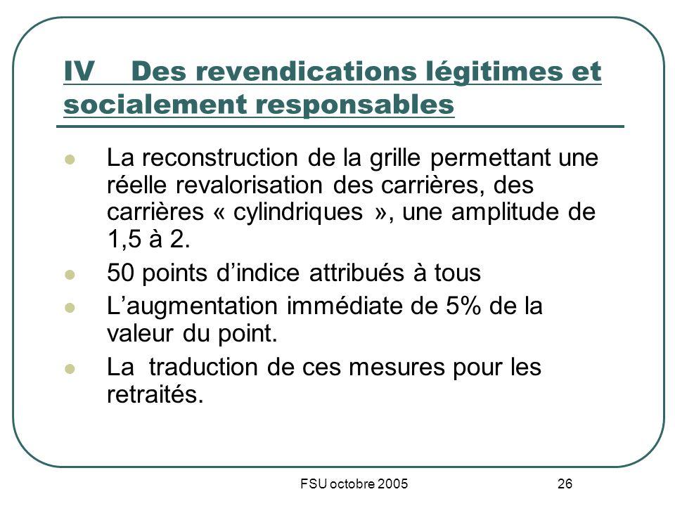 FSU octobre 2005 26 IVDes revendications légitimes et socialement responsables La reconstruction de la grille permettant une réelle revalorisation des carrières, des carrières « cylindriques », une amplitude de 1,5 à 2.