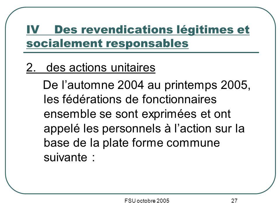 FSU octobre 2005 27 IVDes revendications légitimes et socialement responsables 2. des actions unitaires De lautomne 2004 au printemps 2005, les fédéra