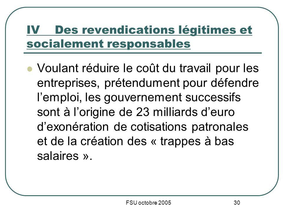 FSU octobre 2005 30 IVDes revendications légitimes et socialement responsables Voulant réduire le coût du travail pour les entreprises, prétendument p