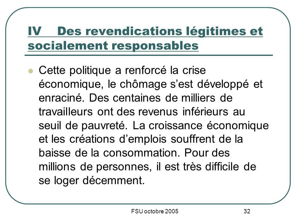 FSU octobre 2005 32 IVDes revendications légitimes et socialement responsables Cette politique a renforcé la crise économique, le chômage sest développé et enraciné.