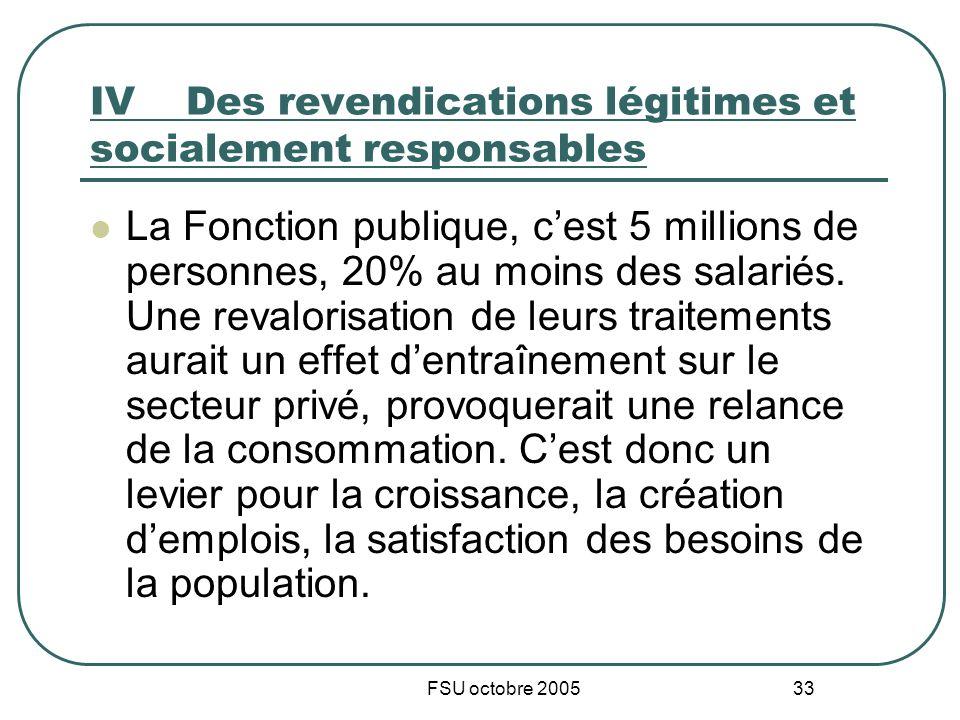 FSU octobre 2005 33 IVDes revendications légitimes et socialement responsables La Fonction publique, cest 5 millions de personnes, 20% au moins des sa