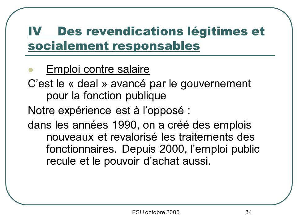 FSU octobre 2005 34 IVDes revendications légitimes et socialement responsables Emploi contre salaire Cest le « deal » avancé par le gouvernement pour