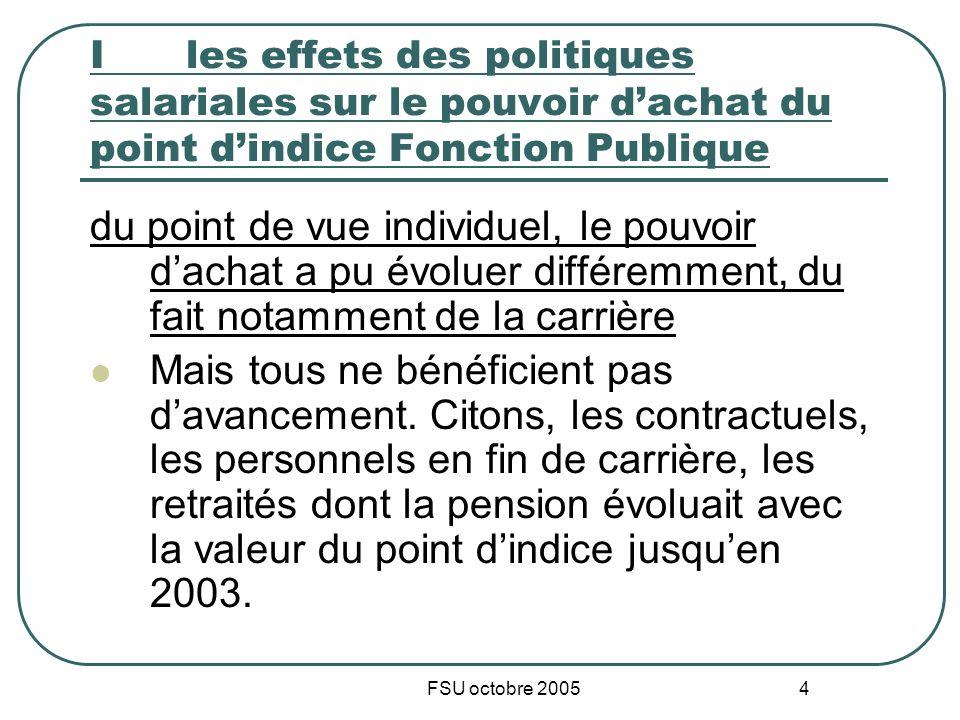 FSU octobre 2005 4 I les effets des politiques salariales sur le pouvoir dachat du point dindice Fonction Publique du point de vue individuel, le pouv