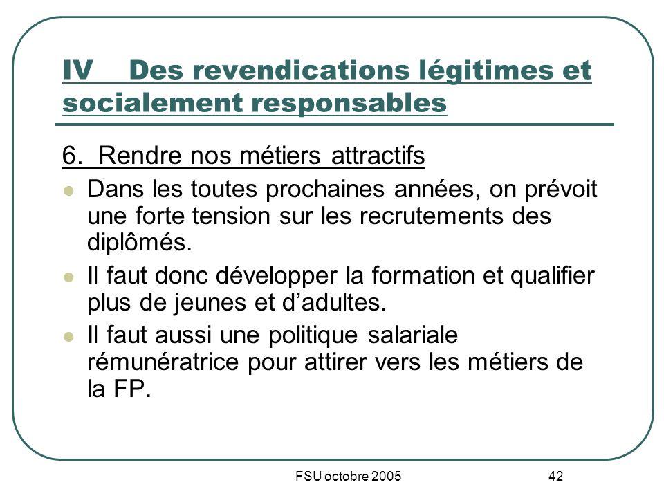 FSU octobre 2005 42 IVDes revendications légitimes et socialement responsables 6. Rendre nos métiers attractifs Dans les toutes prochaines années, on