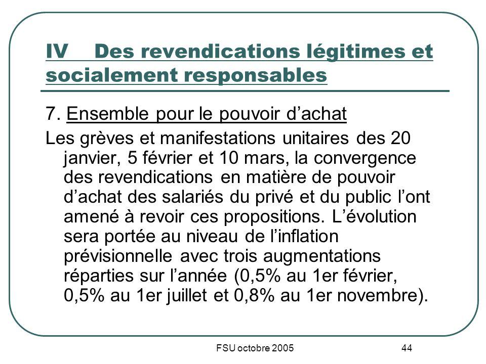 FSU octobre 2005 44 IVDes revendications légitimes et socialement responsables 7. Ensemble pour le pouvoir dachat Les grèves et manifestations unitair