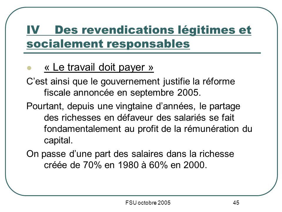 FSU octobre 2005 45 IVDes revendications légitimes et socialement responsables « Le travail doit payer » Cest ainsi que le gouvernement justifie la réforme fiscale annoncée en septembre 2005.