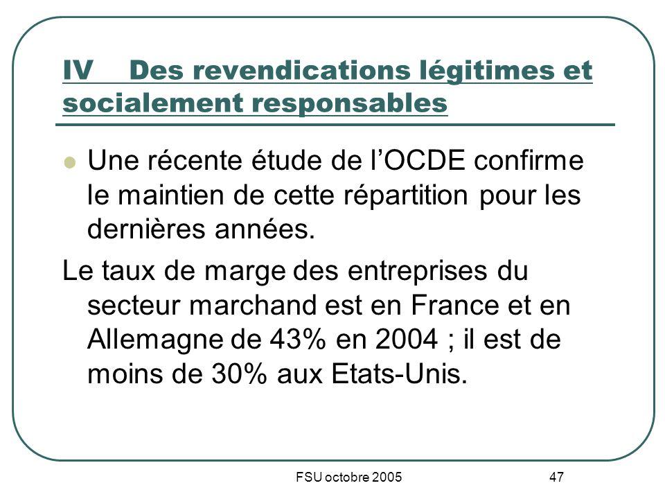 FSU octobre 2005 47 IVDes revendications légitimes et socialement responsables Une récente étude de lOCDE confirme le maintien de cette répartition pour les dernières années.