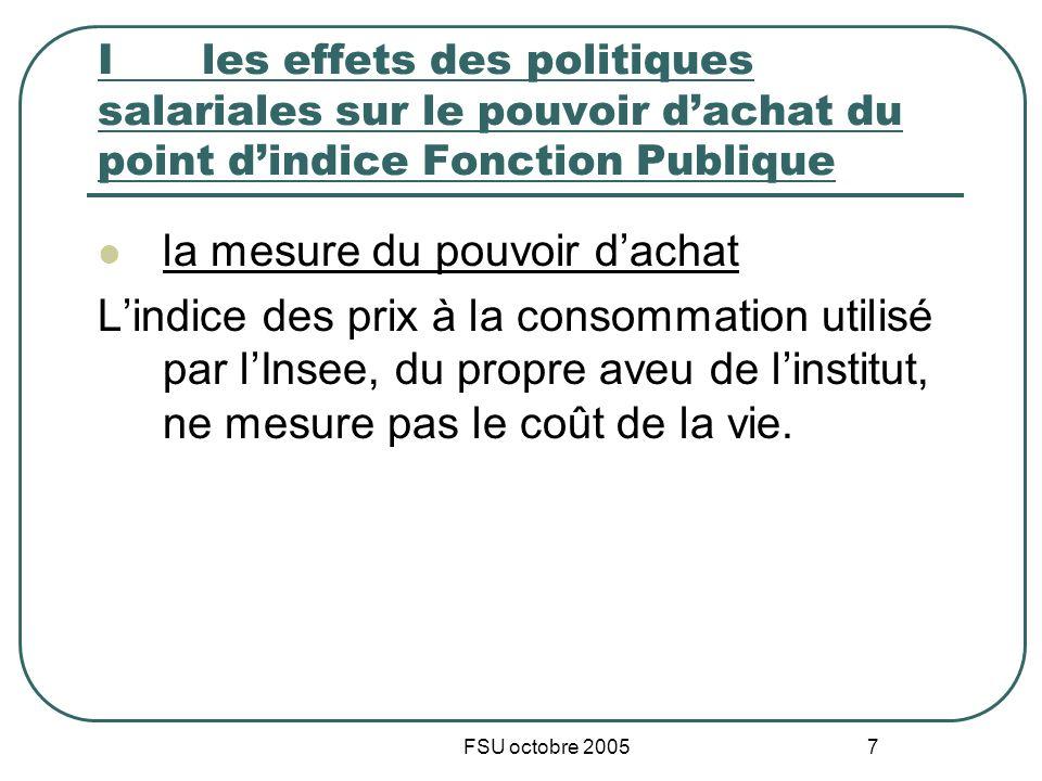 FSU octobre 2005 7 I les effets des politiques salariales sur le pouvoir dachat du point dindice Fonction Publique la mesure du pouvoir dachat Lindice