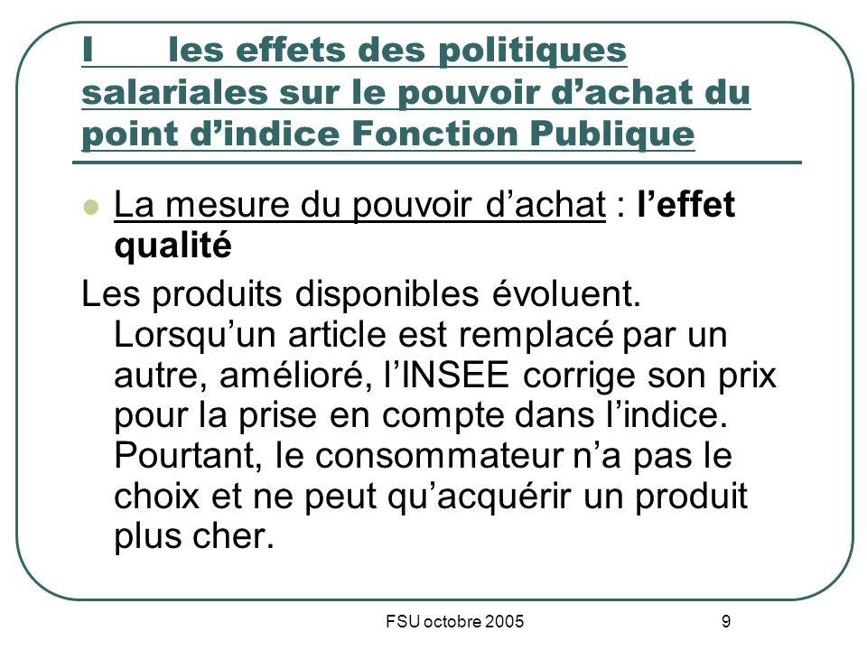 FSU octobre 2005 9 I les effets des politiques salariales sur le pouvoir dachat du point dindice Fonction Publique La mesure du pouvoir dachat : leffet qualité Les produits disponibles évoluent.