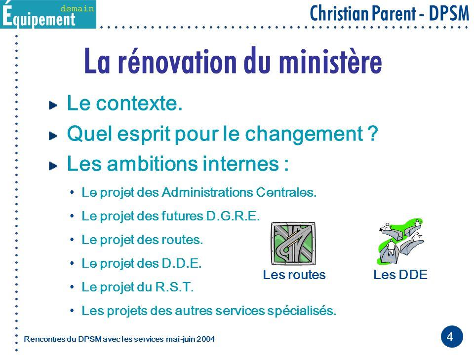 4 Christian Parent - DPSM Rencontres du DPSM avec les servicesmai-juin 2004 La rénovation du ministère Le contexte.