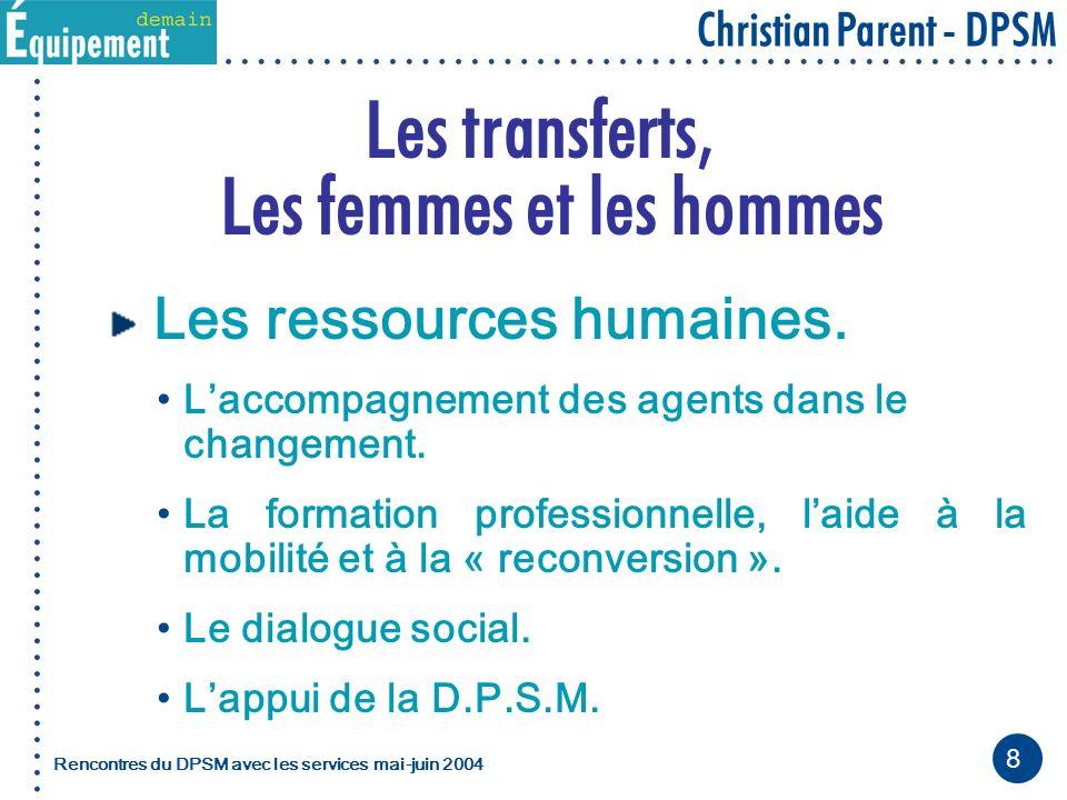 8 Christian Parent - DPSM Rencontres du DPSM avec les servicesmai-juin 2004 Les transferts, Les femmes et les hommes Les ressources humaines.