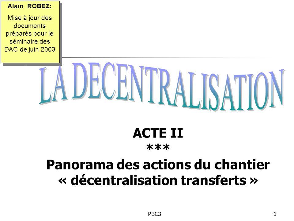 PBC31 ACTE II *** Panorama des actions du chantier « décentralisation transferts » Alain ROBEZ: Mise à jour des documents préparés pour le séminaire d