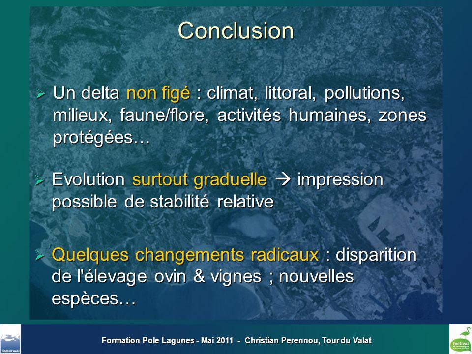 Formation Pole Lagunes - Mai 2011 - Christian Perennou, Tour du ValatConclusion Un delta non figé : climat, littoral, pollutions, milieux, faune/flore